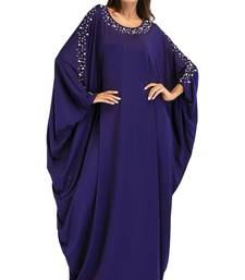 Women'S Pearl Work Plain Abaya With Hijab Scarf