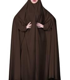 Women Brown Color Hosiery Plain Chaderi Abaya