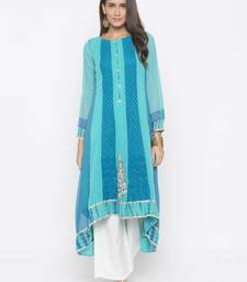 Light Blue Embroidered Georgette Party Wear Kurtis