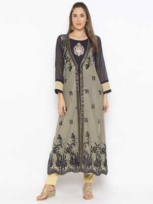 Beige Embroidered Net Party Wear Kurtis