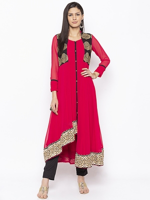Coral embroidered georgette party-wear-kurtis