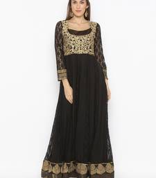 Black Embroidered Net Party Wear Kurtis