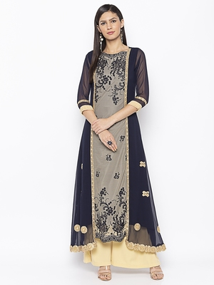 Dark-blue embroidered net party-wear-kurtis