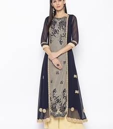 Dark Blue Embroidered Net Party Wear Kurtis