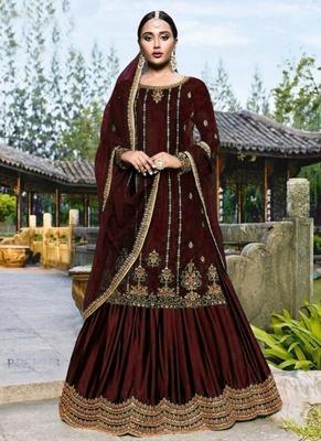 Brown embroidered velvet salwar