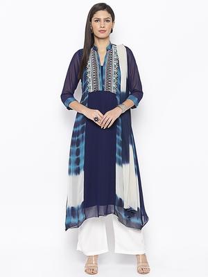 Dark-blue embroidered georgette salwar
