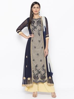 Dark-blue embroidered net salwar