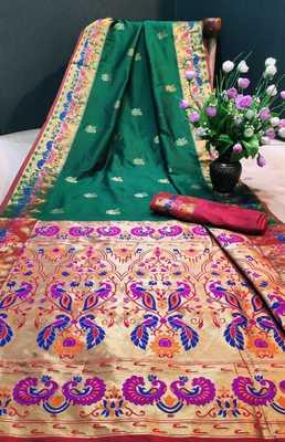 Green woven paithani silk saree with blouse