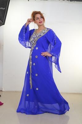 royal blue moroccan islamic dubai kaftan farasha zari and stone work dress