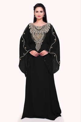 black georgette moroccan islamic dubai kaftan farasha zari and stone work dress
