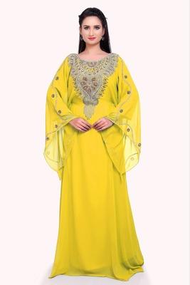 yellow georgette moroccan islamic dubai kaftan farasha zari and stone work dress