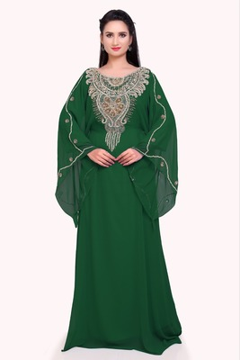 green georgette moroccan islamic dubai kaftan farasha zari and stone work dress