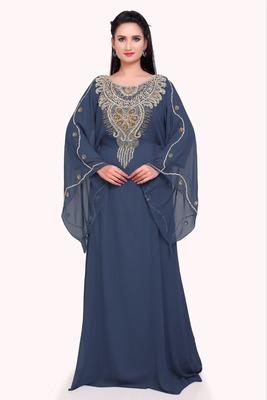 grey georgette moroccan islamic dubai kaftan farasha zari and stone work dress