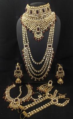 Latest Ethnic Indian Bollywood Celebrity Maroon White Kundan PearlBridal Jewelry Set