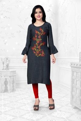 Grey embroidered rayon long-kurtis