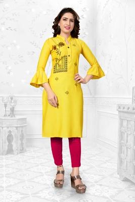Yellow embroidered rayon long-kurtis