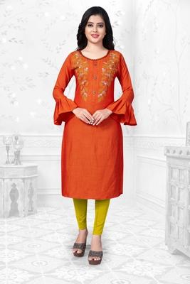 Orange embroidered rayon long-kurtis