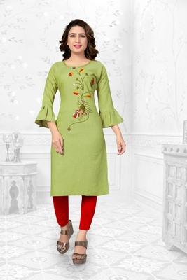 Green embroidered rayon long-kurtis