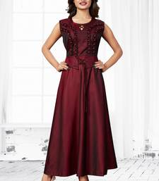 Maroon embroidered satin long-kurtis