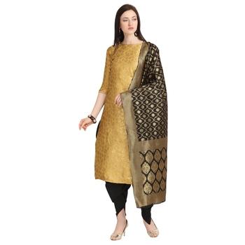 gold banarasi cotton unstitched salwar with dupatta