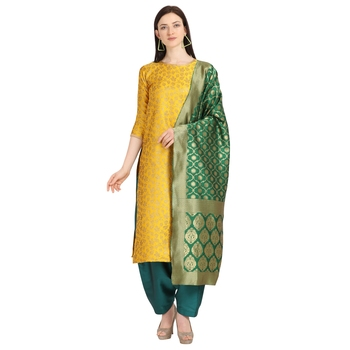 mustard banarasi cotton unstitched salwar with dupatta