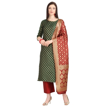 green banarasi cotton unstitched salwar with dupatta