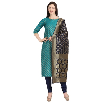 blue banarasi cotton unstitched salwar with dupatta