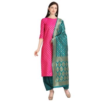 magenta banarasi cotton unstitched salwar with dupatta