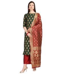 green banarasi cotton unstitched salwar with dupatta