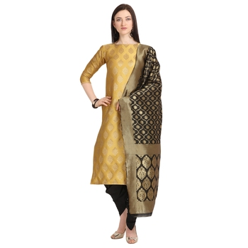 gold banarasi cotton unstitched salwar with dupatta