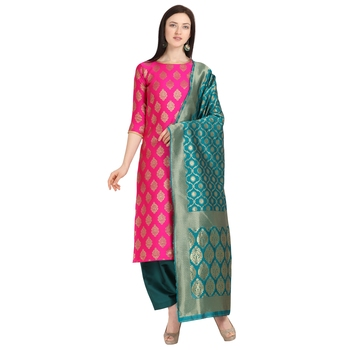 magenta banarasi cotton unstitched salwar with dupatta