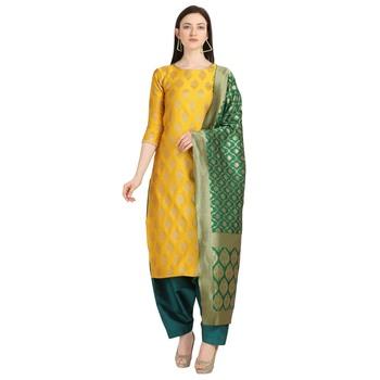 mustard banarasi cotton unstitched salwar with dupatta