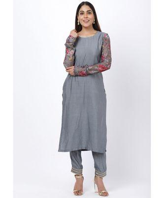 Gray Printed Churidar Sleeves Kurti with Straight Pants