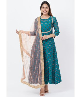 Teal Blue Floral Printed Anarkali with Churidaar and Peach Kundan Dupatta