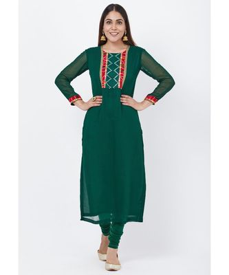 Emerald Green Georgette Mirror Kurti with churidaar