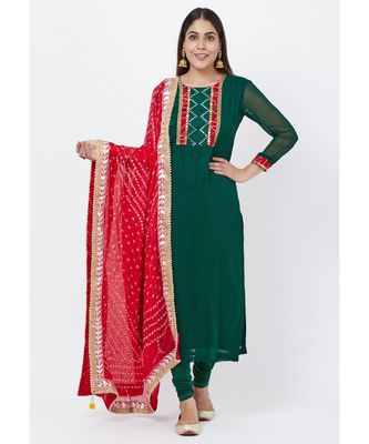 Emerald Green Georgette Mirror Kurti with churidaar and Bandhani Dupatta