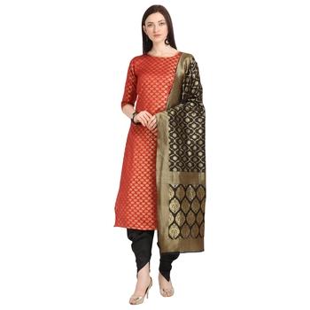 red banarasi cotton unstitched salwar with dupatta