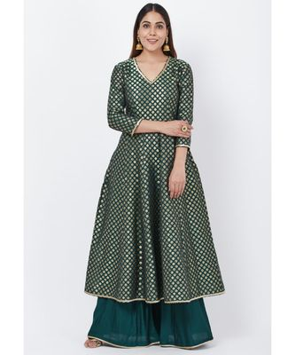 Emerald Green Brocade Anarkai with Kalidaar Palazzo