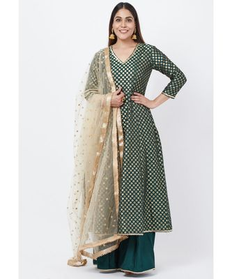 Emerald Green Brocade Anarkai with Kalidaar Palazzo and Sequenced Dupatta