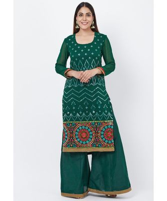 Forest Green Mirror Embroidered Kurti with Palazzo