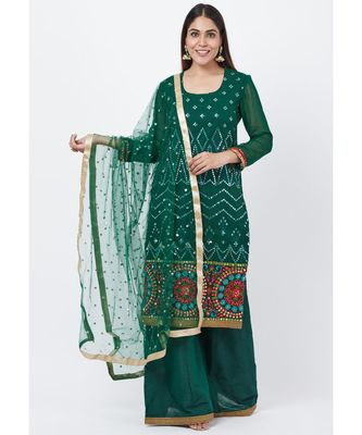 Forest Green Mirror Embroidered Kurti with Palazzo and Sequenced Dupatta