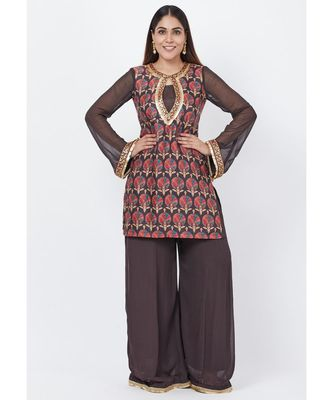 Coffee Brown Printed Sequenced Short Kurti with Palazzo