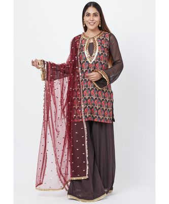 Coffee Brown Printed Sequenced Short Kurti with Palazzo and Sequenced Dupatta