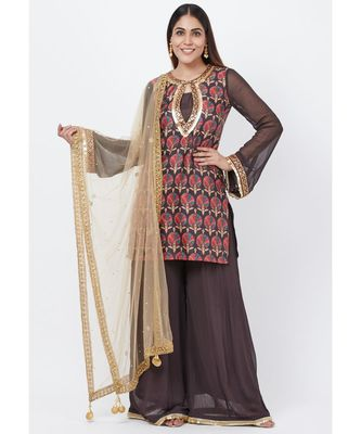 Coffee Brown Printed Sequenced Short Kurti with Palazzo and Mirror Dupatta