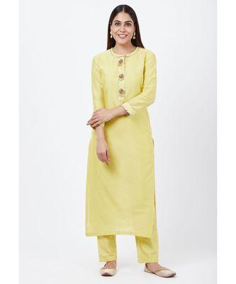 Lime yellow Gotta Straght Kurti with Straight Pants