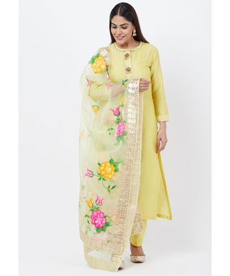 Lime yellow Gotta Straght Kurti with Straight Pants with Hand Painted Organza Dupatta