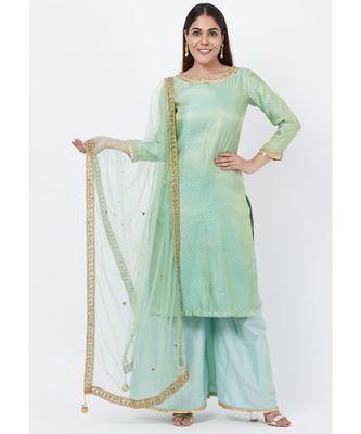 MInt Green Brocade Kurti with Kalidaar Palazzos with Net Mirror Stone Dupatta