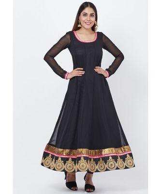 Black Georgette Embroidered Border Anarkali with churidaar
