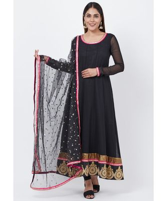 Black Georgette Embroidered Border Anarkali with churidaar and Sequenced Dupatta