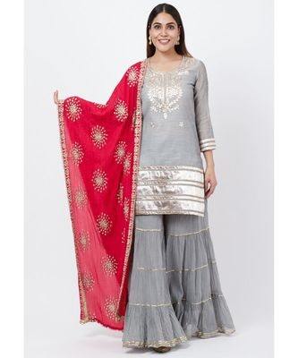 Dreamy Gray Gotta Patti Kurti with Sharara and Floral Gotta Patti Dupatta